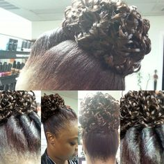 Natural Hair  Twist and a curly bun Body and Soul Salon and Spa