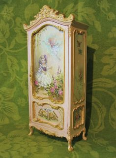 Jill Dianne - Hand-painted Finding Fairies Wardrobe Armoire, in a soft Pink - Dollhouse Miniatures. Pink Dollhouse, Dollhouse Dolls, Dollhouse Miniatures, Miniature Rooms, Miniature Furniture, Dollhouse Furniture, Hand Painted Furniture, Home Decor Furniture, Dollhouse Accessories