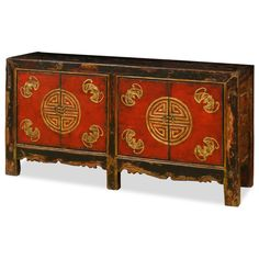 Tibetan Longevity Motif Cabinet. Exuberant and bold, the artwork on this cabinet displays the liveliness of Mongolian art. A definite conversation starter, the cheerful design represents the personality of Mongolian people who are passionate with life. Tibetan furniture.