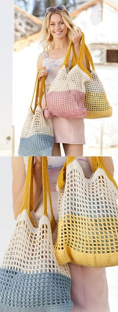 Crochet Pattern for a Beach Bag - Crochet Bag Pattern - # . Crochet pattern for a beach bag - Crochet Bag Pattern - # for # crochet pattern Crochet necklace ideasHow to Join a New Ball of Yarn . Bag Crochet, Crochet Market Bag, Crochet Purses, Crochet Clothes, Crochet Stitches, Free Crochet, Crochet Hats, Knit Bag, Crochet Baskets