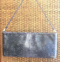 Ann Taylor Purple Black Faux Animal Clutch Handbag Evening Bag Shoulder PU123 #AnnTaylor #Clutch