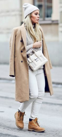 "Nothing says ""I woke up like this"" quite like sophisticated neutrals paired with a beanie hat and Timberland boots."