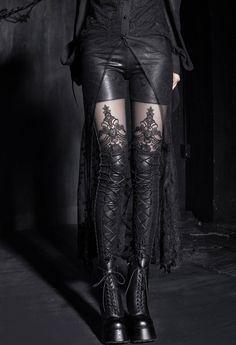 gothic embossed decorative pattern leggings ...