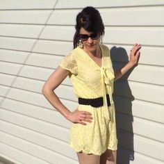 Charlotte Russe Pants - NWOT Yellow Lace Romper