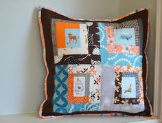 scrappy log cabin pillow