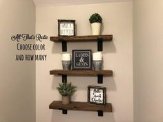 """SHIPS IN 1-3 BUSINESS DAYS This listing is for a single Industrial Style Rustic Floating Shelf. You get to choose your length and how many you need. This shelf features a strong 2"""" black metal L bracket with lip. The brackets are our very own design!! This shelf is sure to add the perfect bold and rustic look to any room in your home :) You can choose the wood color for your shelves, their size, and how many you need!! We include hardware, of course you can always use your own if preferred!!Disp Industrial Floating Shelves, Industrial Shelving, Rustic Shelves, Industrial Style, Farmhouse Shelving, Walnut Floating Shelves, How To Make Floating Shelves, Rustic Wood Wall Decor, Industrial Farmhouse Decor"""