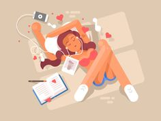 Young girl listen to music flat vector illustration