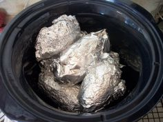 Crock Pot: Baked Potatoes- Yes, always looking for the simple way of doing things!
