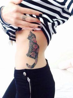 Super Cute Cat Tattoo for Girls on Rib