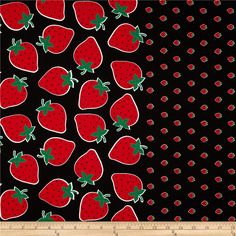 BonEful Fabric FQ Cotton VTG Corduroy Red Strawberry Green Leaf Vine Swirl Black