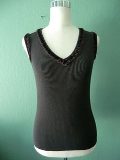 NEW ETCETERA DARK OLIVE BROWN SILK BLEND RIBBED KNIT SLEEVELESS TOP SIZE 8 #Etcetera #KnitTop #Any