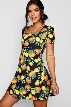 915375e08e5 Nova Citrus Print Puff Sleeve Skater Dress Holiday Outfits