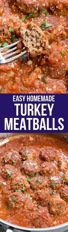 These are the BEST Turkey Meatballs ever! An easy homemade meatball recipe, they're always juicy and taste great in sauce or baked! via @crazyforcrust