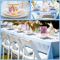 mix my grandma's vintage tea cups with rental china and flatware for a unique table setting. This would be adorable for a vintage theme wedding. Beautiful DIY: Alice in Wonderland First Birthday Part Three