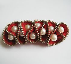 Red Pearl Zipper Brooch Pin by redyarn on Etsy