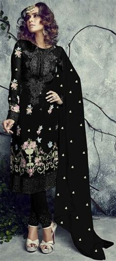 453417 Black and Grey  color family Party Wear Salwar Kameez in Faux Georgette fabric with Lace, Machine Embroidery, Resham, Thread work .
