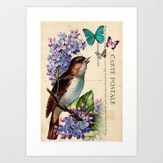 Bird and Butterflies on Vintage Postcard Ephemera Home Décor Original Design by Adidit  Art Print by Adidit - $20.80