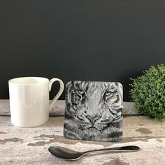 Tiger Glass Coaster by British artist Sarah Boddy. Features a beautiful illustration of a chimp on our hardwearing recycled glass coaster. The lovely black and white artwork makes it a striking addition to any home! Great Gifts For Dad, Gifts For Him, Swinging Safari, Black And White Artwork, Glass Coasters, Animal Decor, Safari Animals, Recycled Glass, Zebras