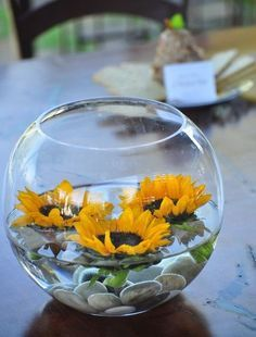 90 Cheerful And Bright Sunflower Wedding Ideas. Sunflower wedding and bridal shower decoration ideas. Sunflower Wedding Decorations, Sunflower Party, Sunflower Baby Showers, Fall Wedding Centerpieces, Sunflower Wedding Flowers, Wedding Ideas With Sunflowers, Fall Sunflower Weddings, Fish Bowl Centerpiece Wedding, Sun Flower Wedding