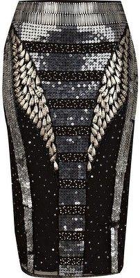 River Island Black Futuristic Sequin Pencil Skirt - LoLoBu