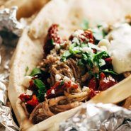 Greek Pork Pitas with tzatziki, tomato, red onion, feta, lemon. The pork is juicy and peppery and delicious - can be made in a slow cooker or Instant Pot. Pita Recipes, Greek Recipes, Cooking Recipes, Greek Dishes, Main Dishes, Pressure Cooker Recipes, Slow Cooker, Lunches And Dinners, Meals