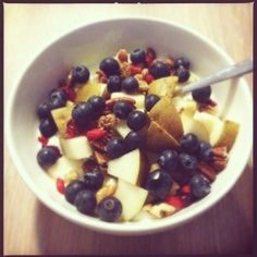 Breakfast Inspiration: Soy yoghurt with fruits and nuts #healthy #healthylifestyle #healthyfood #fruit #food #fit #nuts #vegan