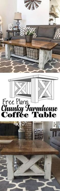 How TO : Build a DIY Coffee Table - Chunky Farmhouse - Woodworking Plans #Woodworking #woodworkplans