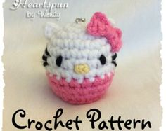 CROCHET PATTERN for Hello Kitty EOS Lip Balm Holder, Pdf Format, Instant Download.  Make a cute holder for your eos or similar lip balm.