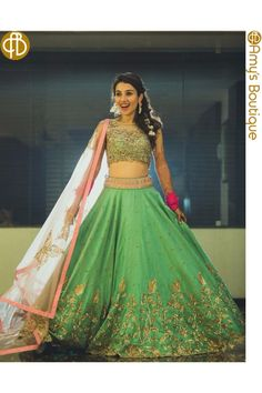 Green Banglori Silk Heavy Work Designer Lehenga Choli #LehengaCholi #BangloriSilk #Embroidered #Wedding #Mehendi