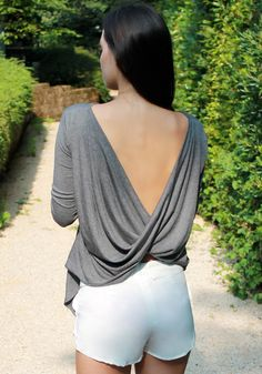 Draped V-back Top.