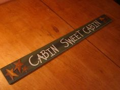 LARGE CABIN SWEET CABIN Fireplace Mantel Sign Rustic Log Home Lodge Decor NEW.  $13.00