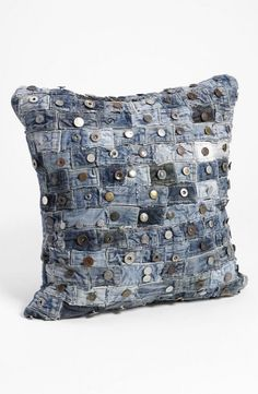 shipping and returns on Mina Victory Button Denim Pillow at . Upcycled waistbands from well-worn jeans compose a distinctive denim pillow for a touch of flea-market chic. Jean Crafts, Denim Crafts, Sewing Hacks, Sewing Projects, Artisanats Denim, Blue Denim, Denim Ideas, Old Jeans, Fabric Crafts