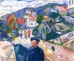 "terminusantequem: ""Edvard Munch (Norwegian, 1863-1944), Street in Kragerø, 1910. Oil on canvas, 100 cm (39.37 in.) x 120 cm (47.24 in.) """