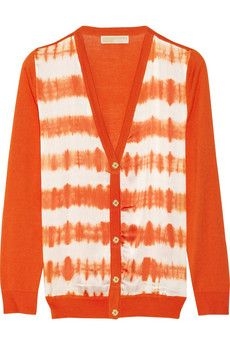 now €105.30  -  was  €234 Michael Kors Tie-dyed stretch-silk and cotton-blend cardigan  - US sizes: XS, S, M, L