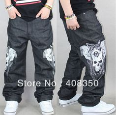 Quality Men's Fashion Cool Skull Pattern Hip Hop Jean Pants, Plus Size Loose Skateboard Pants Free Shipping $40.92