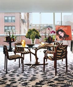 DVF office -- chairs with different fabric for dining room