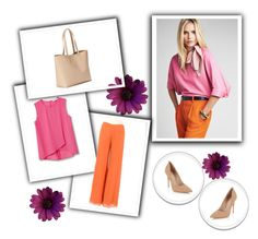 """""""Pink top"""" by zerina-okanovic ❤ liked on Polyvore featuring Old Navy, MANGO and Lipsy"""