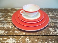 Pyrex Pink Flamingo Place Setting Pyrex by VintageShoppingSpree, $28.00