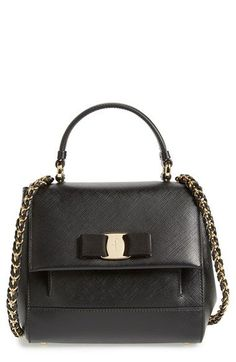 Free shipping and returns on Salvatore Ferragamo 'Small Carrie' Leather Top Handle Satchel at Nordstrom.com. A tonal grosgrain bow and goldtone hardware add a touch of signature flair to a compact shoulder satchel shaped from glazed Saffiano leather.