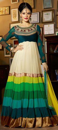 418428: #anarkali #multicolor #Partywear #designer #diwali #Festival #OnlineShopping #Festivewear #Womenswear #ethnic #Sale #stripes #regal #bridal #wedding #bridesmaid #new #runway #Winterfall2014 #trends2014