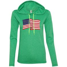 USA Flag In The Wind Show Your Pride Ladies Tee Shirt Hoodies