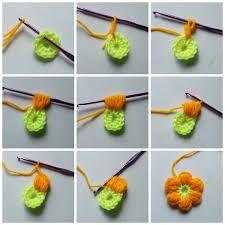 Resultado de imagem para ponto croche flores puff 3 petala