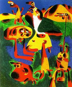 Joan Miro Most Famous Painting | Joan Miro - Figures and Mountains 1936