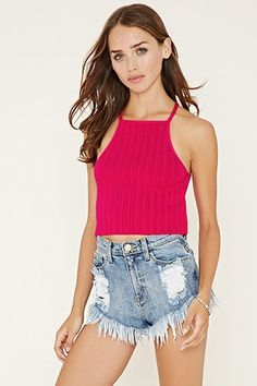 Hot pink FOREVER21  crop top  for woman cropped cami,ribbed #topcorto #bralet #strappybralet #bandeautop