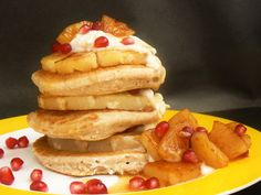 Perfect for Shrove Tuesday these Coconut & Lime Freefrom Pancakes (Glutenfree, Vegan) are layered with grilled pineapple & soaked in a ginger syrup! Healthy Dessert Recipes, Easy Desserts, Delicious Recipes, Easy Meals For Kids, Kids Meals, Easy Chicken Recipes, Easy Recipes, Griddle Cakes, Vegan Pancakes