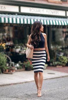 elegant navy striped skirt + tan suede shoes // from Boston fashion blog www.extrapetite.com