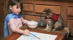 Il gatto e la bambina autistica che dipinge come Monet - Petsparadise