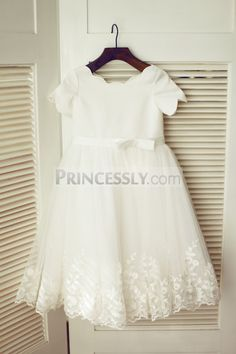 Ivory Satin Lace Tulle Wedding Flower Girl Dress with Short Sleeves
