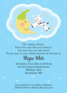 Nursery Rhyme Baby Shower Invites
