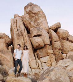 rocks + pink dresses engagement. Cozy Joshua Tree Love Session: Joy + Jeffrey